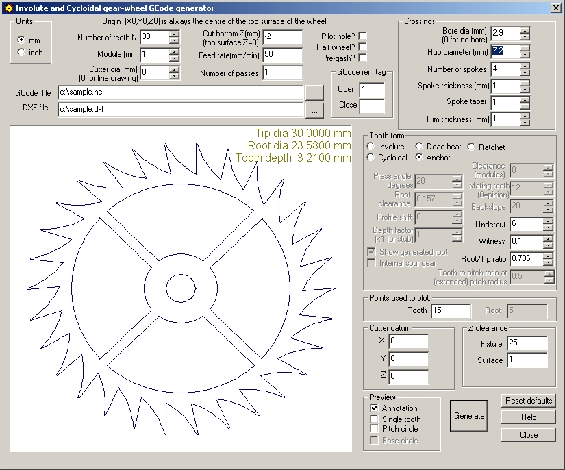 involute and cycloidal gear designer gcode generator